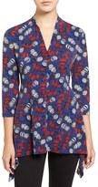 Chaus Women's 'Shoreline' Print V-Neck Handkerchief Hem Top
