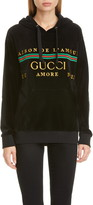 Gucci Oversize Embroidered Velour Hoodie