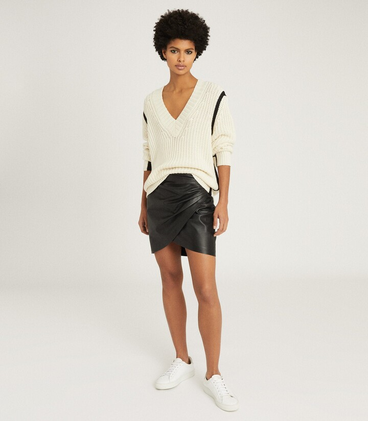 Thumbnail for your product : Reiss Saffron - Leather Wrap Front Mini Skirt in Black