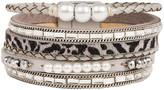Saachi Style Style Women's Bracelets Silver - Gray Imitation Pearl & Silvertone Leopard Layered Leather Bracelet
