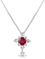 Tagliamonte Incanto Royale Diamond and Ruby Flower 18K Gold Pendant Necklace