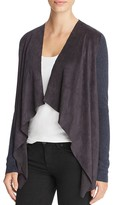 T Tahari Milly Draped Faux Suede Cardigan