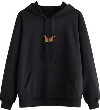 LULUZ Hoodie Womens Sweatshirt Long Sleeve Jumper Casual Butterfly Print Hooded Pullover Adjustable Drawstring Pocket Tops Blouse Black