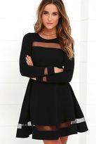 LuLu*s Sheer Leader Black Mesh Skater Dress