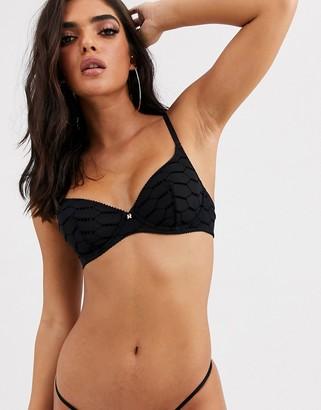 Savage x Fenty logo mesh unlined underwire bra in black