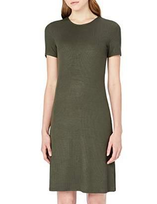MERAKI Women's Slim Fit Rib Summer T-Shirt Dress,(Size: )
