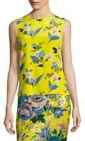 Diane von Furstenberg Colorblock Floral-Print Silk Shell
