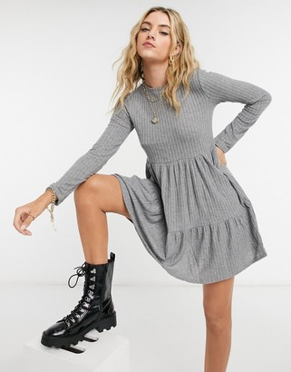 Bershka ribbed long sleeve smock dress in gray