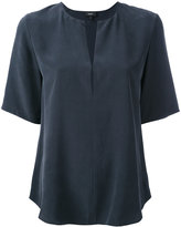 Theory open neck T-shirt - women - Silk - M