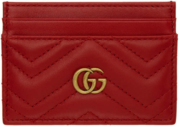 Gucci Red GG Marmont 2.0 Chevron Card Holder