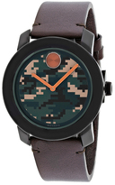 Movado Bold 3600302 Men's Black Stainless Steel and Brown Leather Watch