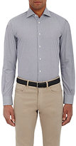 Luciano Barbera MEN'S MICRO-CHECKED BUTTON-FRONT SHIRT-BLUE SIZE XL