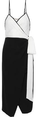 Diane von Furstenberg Avila Two-tone Crepe Midi Wrap Dress