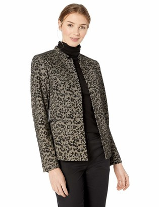 Kasper Women's Stand Collar Animal Knit Jacquard Fly Away Jacket