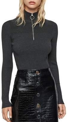AllSaints Lacey Half-Zip Rib-Knit Sweater