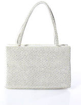 Judith Leiber Ivory Leather Rhinestone Studded Rectangular Evening Handbag