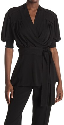 Proenza Schouler Matte Jersey Pleated Wrap Mini Dress