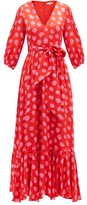 Borgo de Nor Ariel Polka-dot Silk-jacquard Maxi Dress - Womens - Red Multi