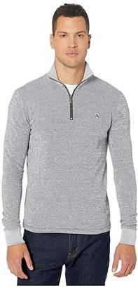 Original Penguin Jacquard Stripe 1/4 Zip Fleece Pullover (Bright White) Men's Clothing