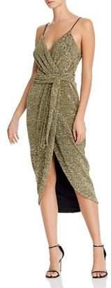 Saylor Sequined Faux-Wrap Midi Dress