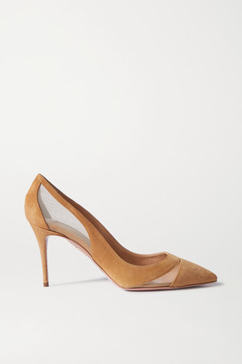 Aquazzura Savoy 85 Suede And Mesh Pumps - Brown