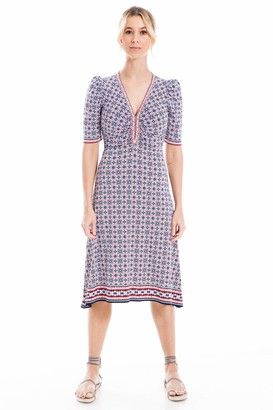 Max Studio Women's Geometric Puff Sleeve Printed Matte Jersey Dress