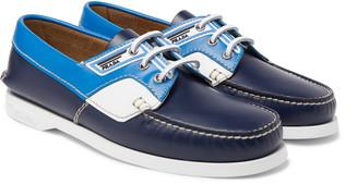 Prada Colour-Block Leather Boat Shoes