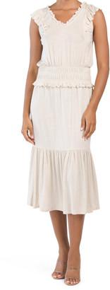 Smocked Waist Ruffle Detail Knit Dress