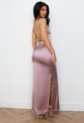 Missguided Mauve Satin Strappy Back Maxi Dress