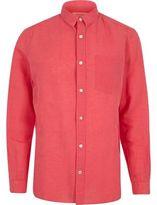 River Island MensPink linen-rich shirt