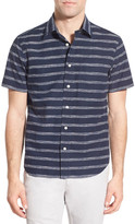 Jack Spade 'Clift - Stripe' Trim Fit Short Sleeve Sport Shirt
