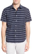 Jack Spade &Clift - Stripe& Trim Fit Short Sleeve Sport Shirt