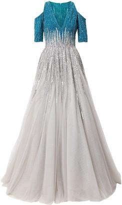 Saiid Kobeisy Cold-Shoulder Sequin Dress
