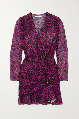 Veronica Beard Anjali Wrap-effect Ruched Floral-print Silk-chiffon Mini Dress