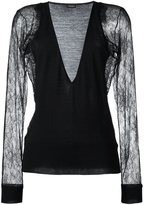La Perla 'Leisuring' lace sleeve jumper - women - Silk/Nylon/Polyester/Wool - M