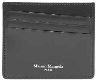 Maison Margiela Logo-stitched Patent-leather Cardholder - Mens - Black