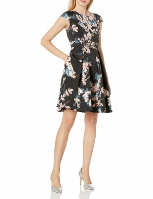 Adrianna Papell Women's Faille Fit and Flare with Cap Sleeve