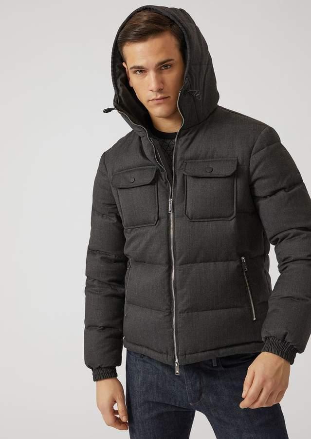 Emporio Armani Wool Twill Down-Padded Jacket