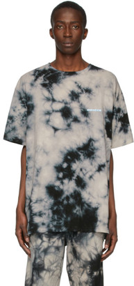 Off-White Beige and Black Tie-Dye T-Shirt