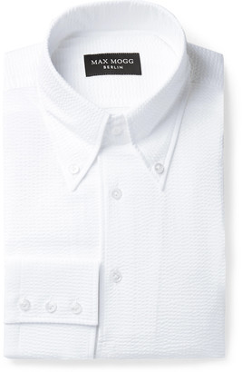 Maximilian Mogg Button-Down Collar Cotton-Seersucker Shirt