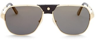 Cartier Santos De Aviator Metal Sunglasses - Black