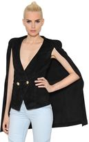 Balmain Double Breasted Suede Cape
