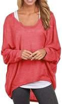 YACUN Women's Batwing Sleeve Loose Shirt Blouse Tops L