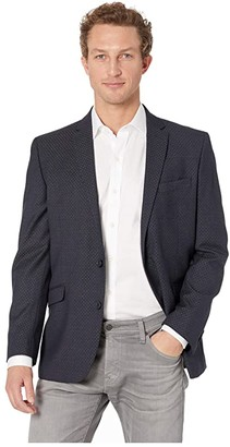 Kenneth Cole Reaction Slim Fit Blazer with Texture and Stretch (Charcoal) Men's Coat