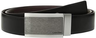 Calvin Klein 32mm Reversible Feather Edge Panel Belt (Black) Men's Belts