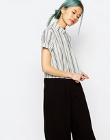 Monki High Neck Stripe Top