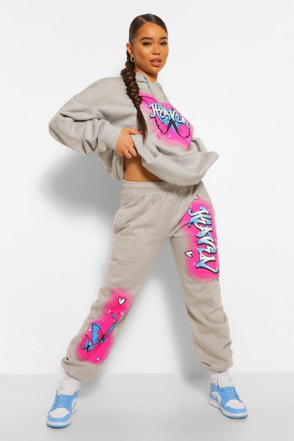 Thumbnail for your product : boohoo Graffiti Print Slogan Oversized Joggers