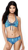 Lands' End Women's Halter V-neck Bikini Top-Deep Sea Medallion/Geo