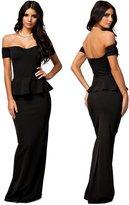 Maxwell Women's Peplum Maxi Dress With Drop Shoulder Long Evening Dress