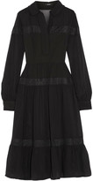 Raoul Chiara lace-trimmed ruffled washed crepe de chine dress